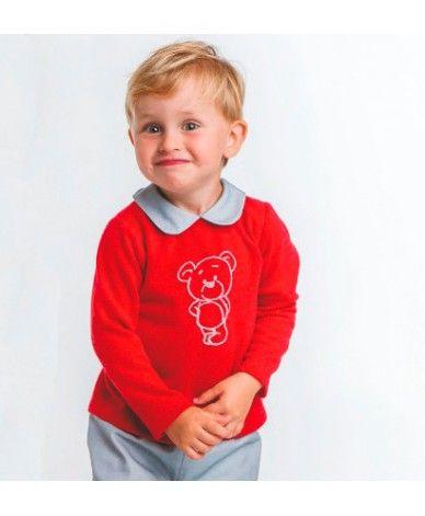 dd95eafea5 Conjunto desde 3 meses hasta 24 meses. La parte de arriba es jersey granate  con cuello bebé en gris a juego con el pol…