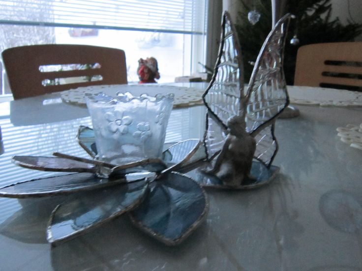 Fairy is a candlelight decoration. Wings are made by glass and body is tin.