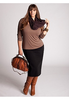scoop neck knit top, pencil skirt, camel leather boots, eggplant scarf and a cute hand bag