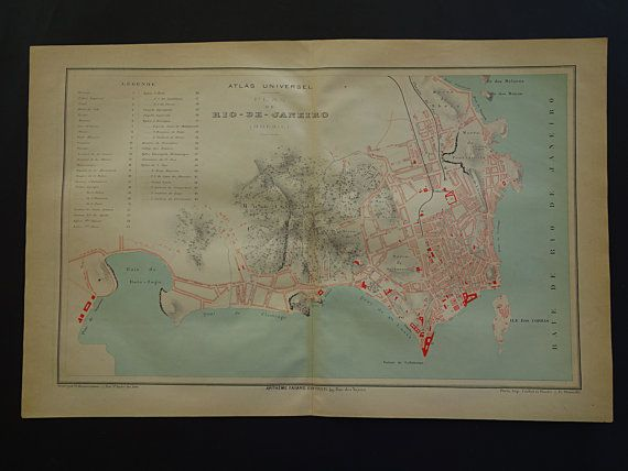 RIO old map of Rio de Janeiro 1877 large by VintageOldMaps on Etsy