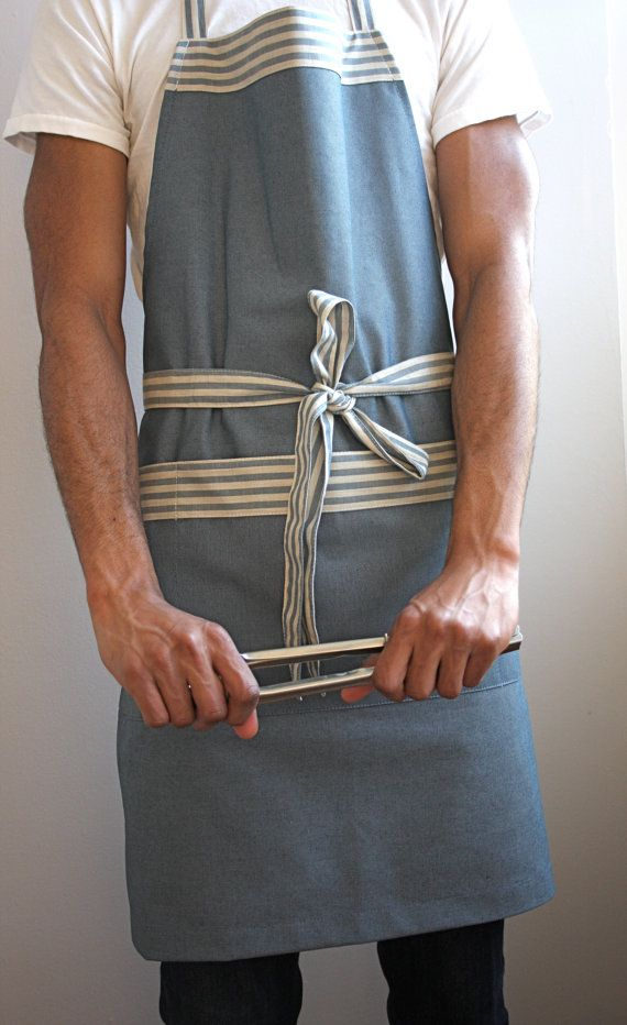 "Mens apron chefs apron grilling apron navy nautical by SSatHome, $50.00  This apron is made from a heavy cotton, and is approx. 33""x 28.5"" with 38"" straps on each side."