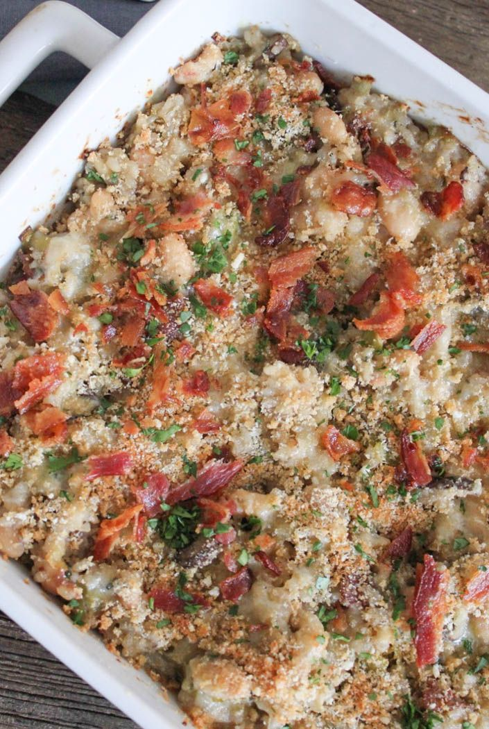Mushroom, White Bean and Brown Rice Casserole with Bacon and Gruyère