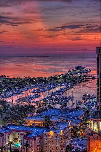 St Pete Sunrise Vertical    St Petersburg Pier and Marina at Sunrise Vertical, St Petersburg, Florida
