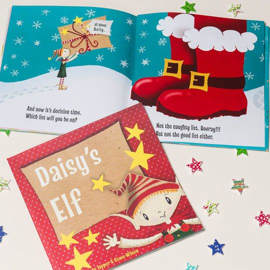 Give any child the perfect Christmas present with the 'Your Elf' personalised story book, a lovely gift for family and friends or a great stocking filler for your own child. Written and illustrated by our very own Lucy Tapper and Steve Wilson, this Christmas book tells the story of a cheeky elf who has been living with the child and helping Father Christmas decide whether they're on the good list or the bad list.