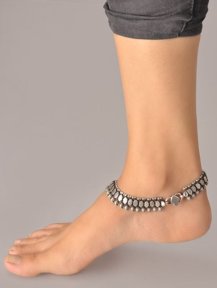 Buy Silver Paisley Anklet (Single Piece) 92.5% Sterling Online at Jaypore.com