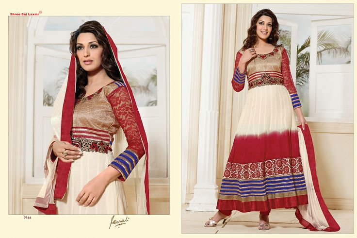 Stunningly Beautiful Tri-Colored colored Georgette Anarkali with awesome Embroidery work en-crafted. Comes along with Matching Shantoon Bottom and Chiffon Duppatta finely Embroidered.