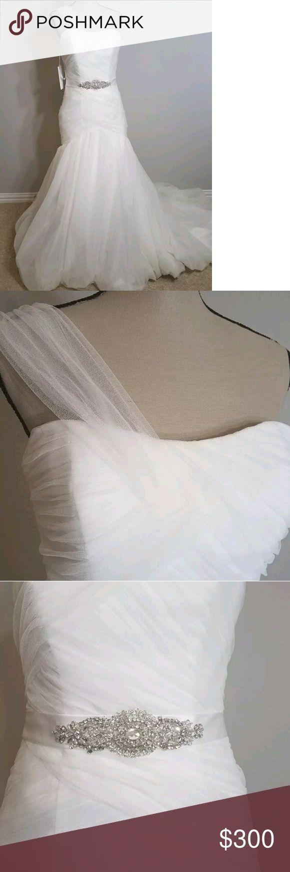 NWT Impression Bridal wedding gown by Zurc A line, one shoulder, dropped waist, floor length wedding gown with chapel length train. Embellished waist. Tags still attached. Impression Bridal Dresses Wedding