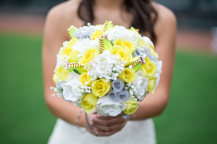 Baseball / Softball Wedding Bouquet. We made the softball roses from actual softballs and Wedding Decor by Ruth designed the bouquet.