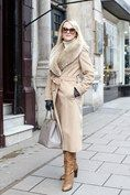 Emaa Dupont, Jigsaw coat, Gucci sunnies, Reiss boots, Prada bag, Aspinal of London gloves