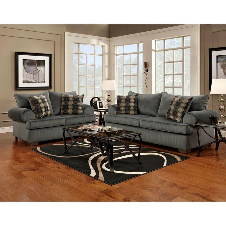 FurnitureMaxx Marshall Steel Microfiber Sofa , Made In USA : Sofas