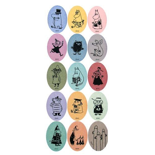 Moomin Colorful Mini Oval Paper Stickers  Sheet of by chickippie