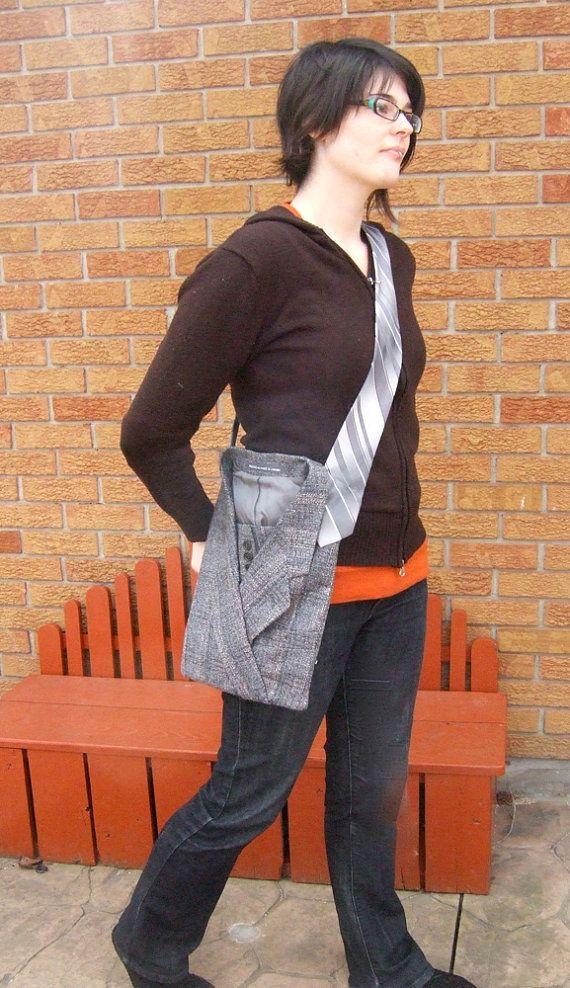 celine mini luggage bag black - Shoulder Bag Upcycled Men\u0026#39;s Suit With Tie Handle | Mens Suits ...