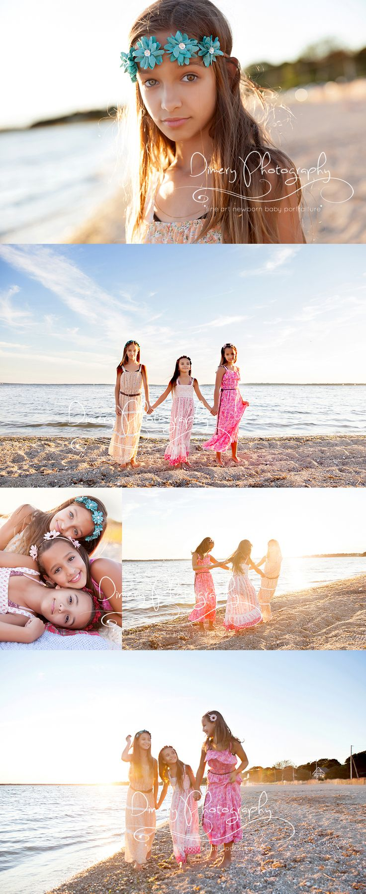 sister portraits, three girl poses, beach portraits, sunset family photo session, natural light family photography, preteen portrait session, bohemian style © Dimery Photography 2015