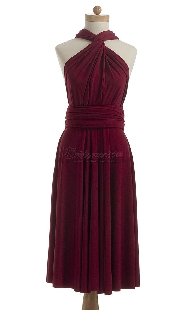 #bridesmaid Halter Short Chiffon Burgundy Strappy Bridesmaid Dress BDS-CA197