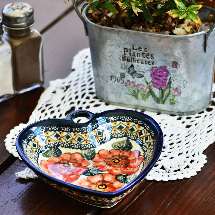 Charming heart shaped bowl. Perfect for serving snacks, especially for loved ones.  Made of natural ceramic clays, hand formed and hand decorated by Bolesławiec artist.