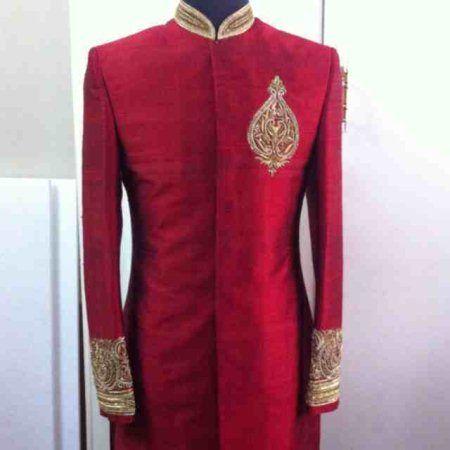 red sherwani by sagar tenali