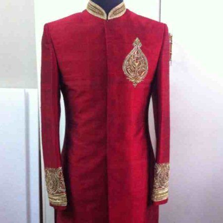 red sherwani by sagar tenali