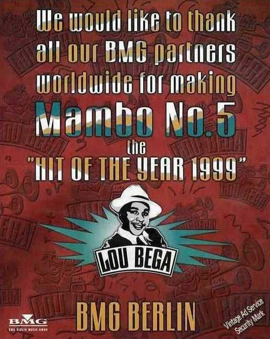vintage musician ads | Lou Bega Mambo No.5 Vintage Music Ad 1999