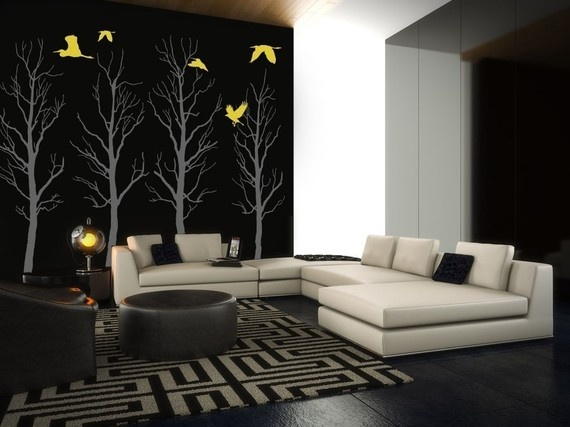 wall art decals - very bold to paint walls black, but with that white accent wall it looks very stylish