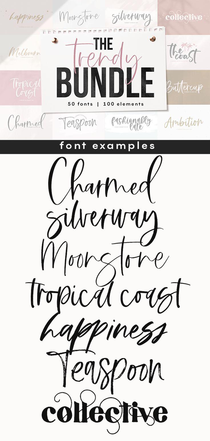 Download The Trendy Font BUNDLE | Lettering, Hand lettering, Cricut ...