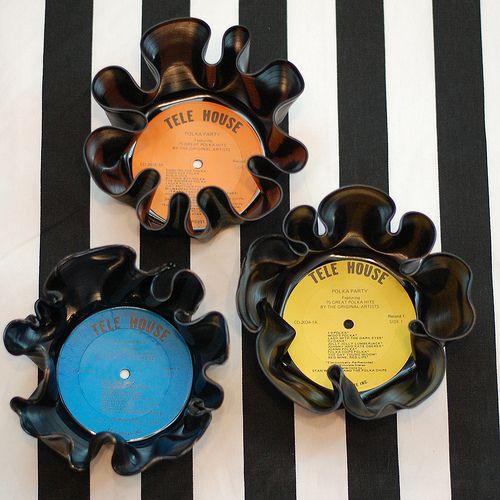 DIY Vinyl record bowls.