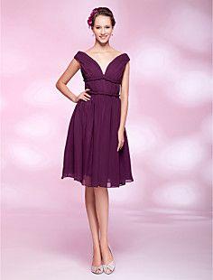 A-line Off-the-shoulder Knee-length Chiffon Cocktail Dress – USD $ 129.99