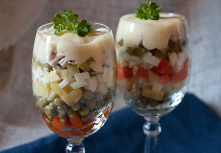 """Salad """"Olivye"""" Step-by-step. in Russian"""