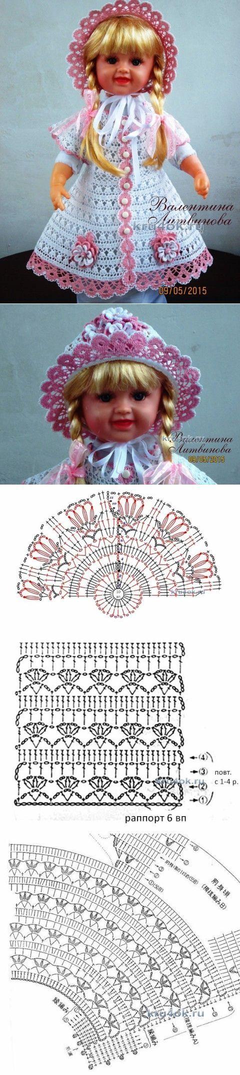 Платье, панама и капор для девочки — работы Валентины Литвиновой - вязание крючком на kru4ok.ru