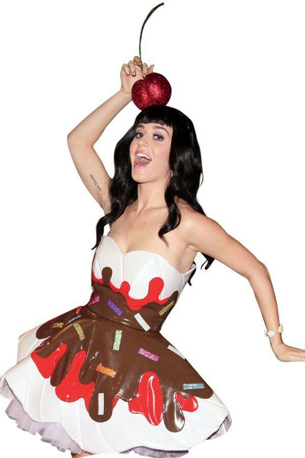 Katy Perry tries on a new costume design