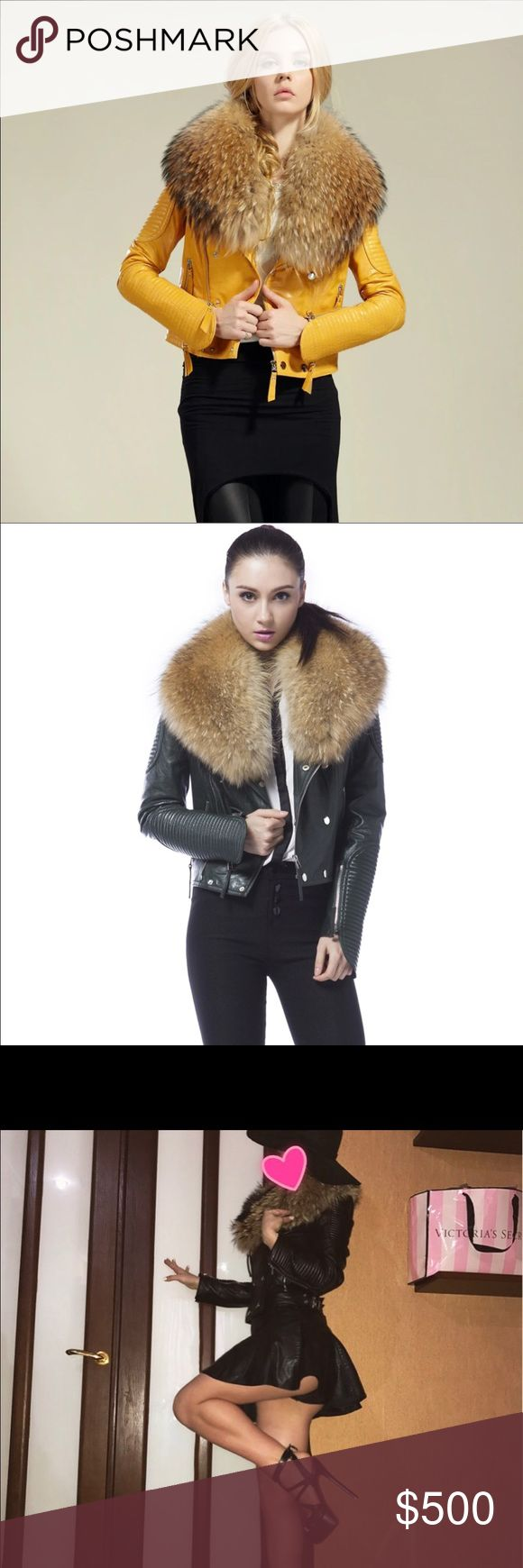 Leather jacket with fur RED, ROSE PINK, BLUE, BLACK, YELLOW, GREEN Jackets & Coats