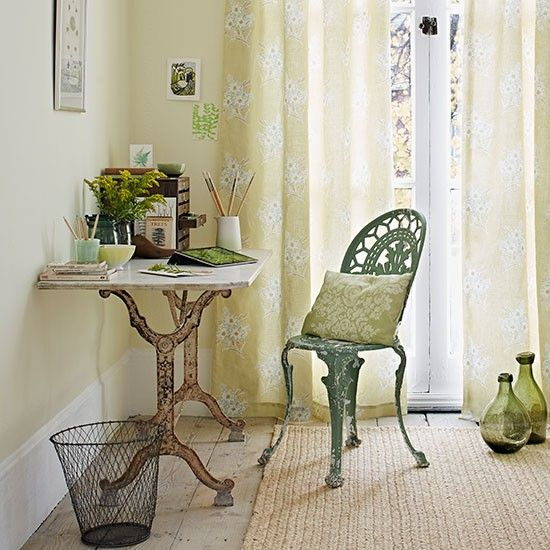 Yellow and green home office | Home office decorating ideas | Country Homes and Interiors | Housetohome.co.uk