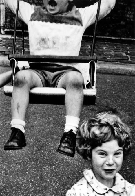 "Boy + Swing + Simpering Girl, New York, 1955, by WILLIAM KLEIN: ""The New York School: Photographs, 1936-1963"" (1992) - Since 2008, AMERICAN SUBURB X 