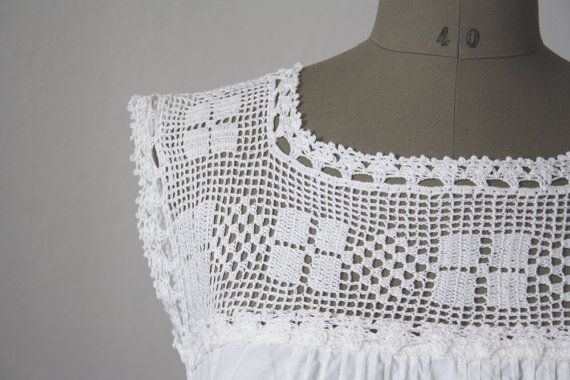 1900s Crocheted cotton Nightie // French White Nightgown //