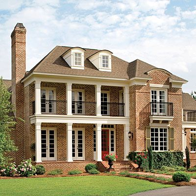 Inspired By Architectural Styling Of The Old South, Forest Glen Will Charm You Instantly. Deep Front Porches, Wrought-Iron Railings, Arched Dormers, Shutters and Multiple French Doors Add A Southern Accent To The Elegant Exterior. -Southern Living #Renovation