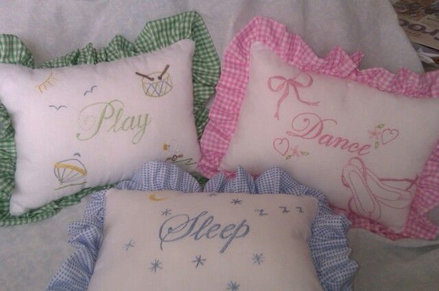 Small hand embroidered cushions for kiddies