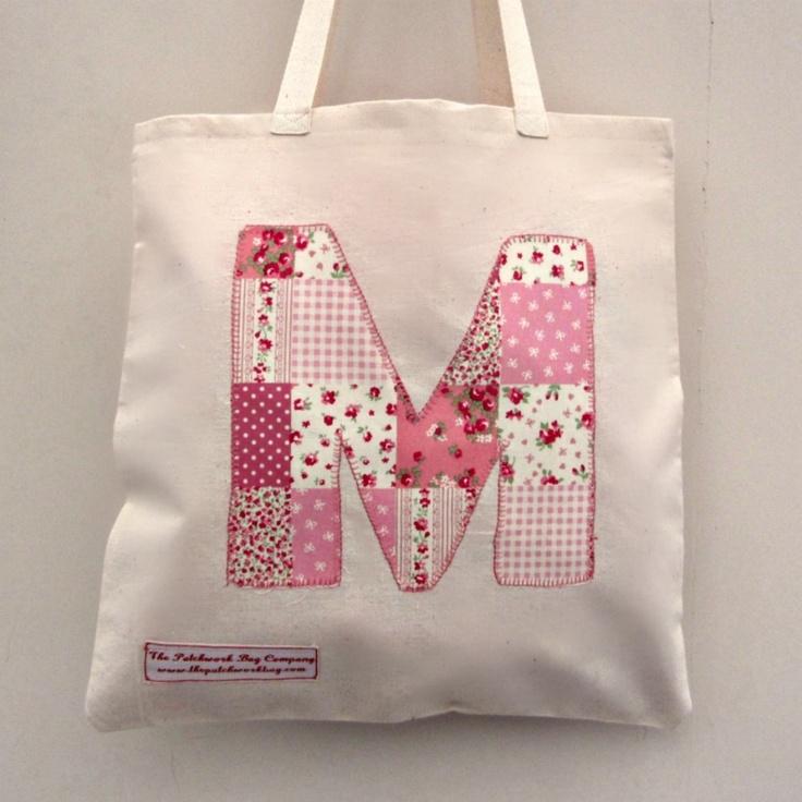 Alphabet initial tote bag {Poppy and Petal}