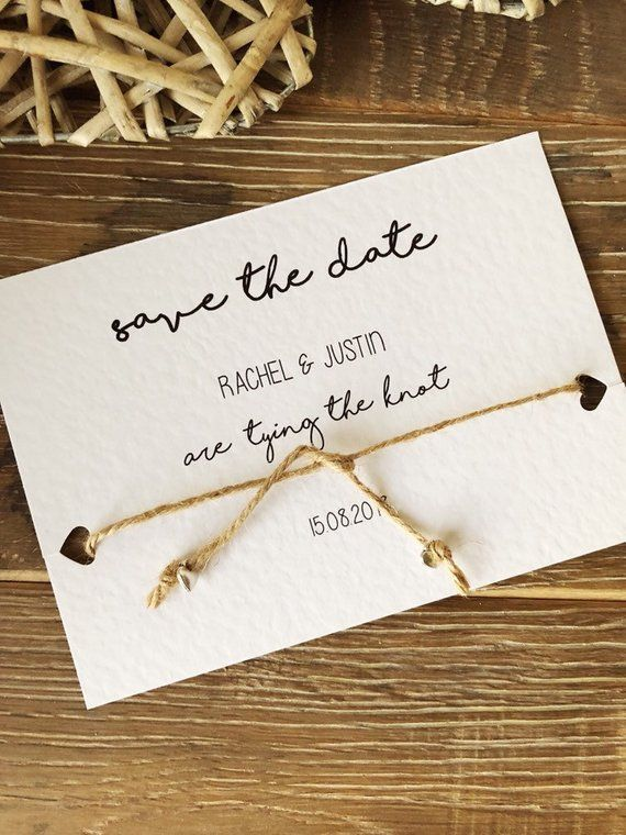 Rustic Tying The Knot Save The Date Cards Personalised With Both Names And The Date Of Y Wedding Invitations Rustic Country Wedding Invitations Wedding Saving