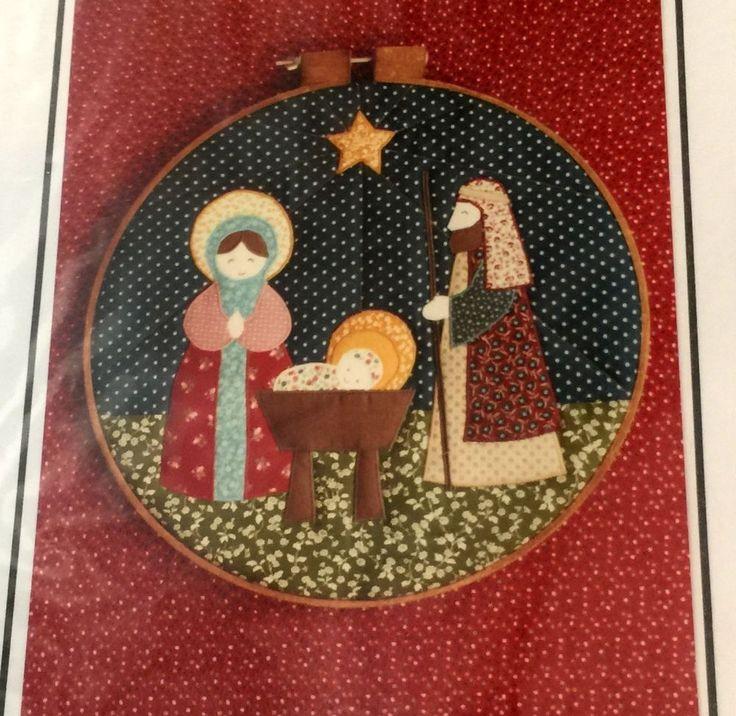 "Simply Pretty NATIVITY HOOP Quilt Primitive Christmas Pattern 14"" Baby Jesus #ThePeacefulKingdom"