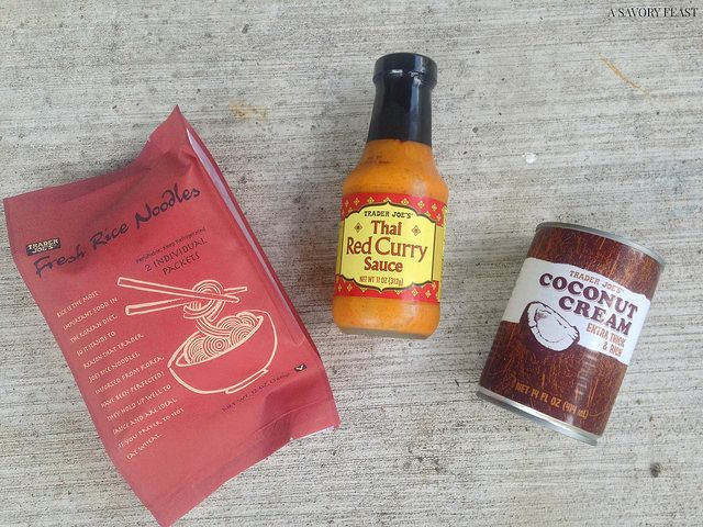 Trader Joe's Thai Red Curry Chicken and Rice Noodles