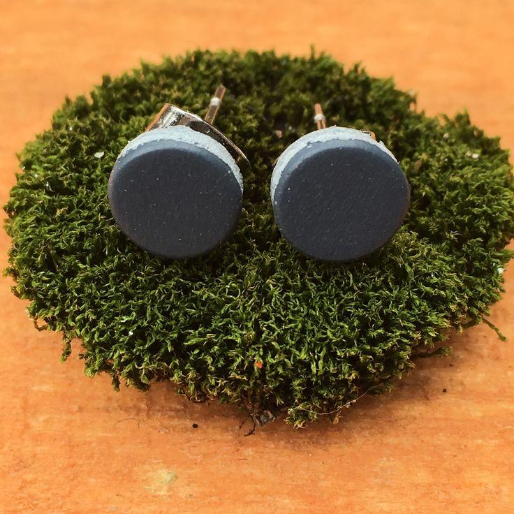 Repurposed Rubber tile flooring Earrings in shiny dark gray