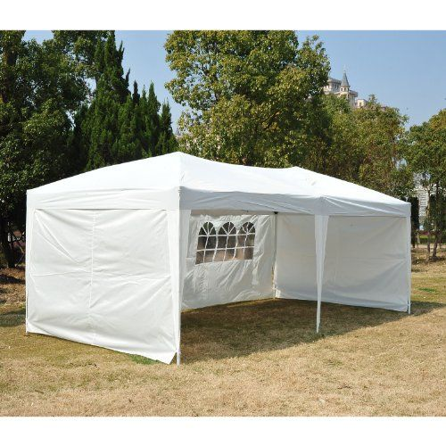 outsunny easy pop up canopy party tent 10 x 20feet white with