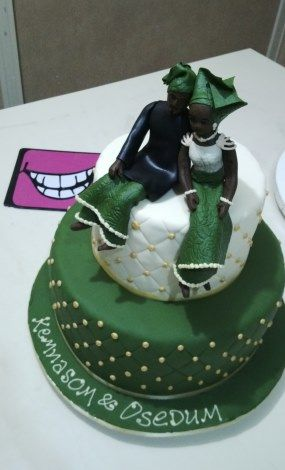 Nigerian Wedding: Unique & Creative Traditional Engagement Wedding Cakes. Green and white.