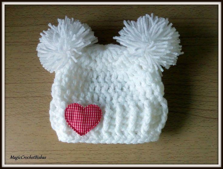 Double Pom Pom Baby Hat,My little Valentine baby hat , Baby Valentine's Hat, | eBay