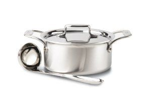 All-Clad Brushed Stainless D5 3-Quart Soup Pot with Lid and Ladle by All-Clad. $162.99. 3-quart soup pot includes lid and ladle. Compatible with all cooktops, optimal for induction. Stainless steel handles are permanently secured with stainless steel rivets. 18/10 stainless steel cooking surface will not react with food. Dishwasher, oven and broiler safe. All-Clad Brushed Stainless D5 3-quart soup pot with lid and ladle is essential for every kitchen. The soup pot feat...