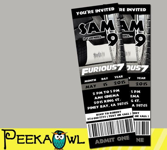 printable fast and furious 7 movie invitation ticket by peekaowl