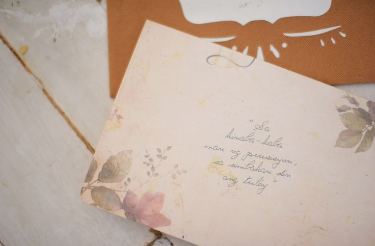 We have been together for 10 years before marriage and so this tagalog quote couldn't have been more fitting.  Here's part the back page of our romantic vintage themed wedding invitation created by Quirky Dots.