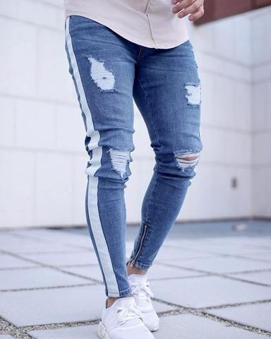 38a3551a9c6e Casual men s jeans tight striped jeans