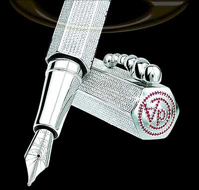 La Modernista Diamond Pens    It was made by the Swiss company Caran d'Ache in 1999 as homage to architect Antonio Gaudi.    The fountain pen was sold in Harrods, London, for $265,000.    La Modernista Diamonds is made of rhodium-coated solid silver components.    It boasts of an 18-carat rhodium-coated gold nib and is set with a total of 5,072 Wesselton diamonds weighing in at 20-carats, as well as and 96 rubies totalling 32-carats.