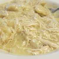 Easy chicken and dumplings. Homemade dumplins are very easy to make... I really like this base recipe add some milk and butter and it's awesome!