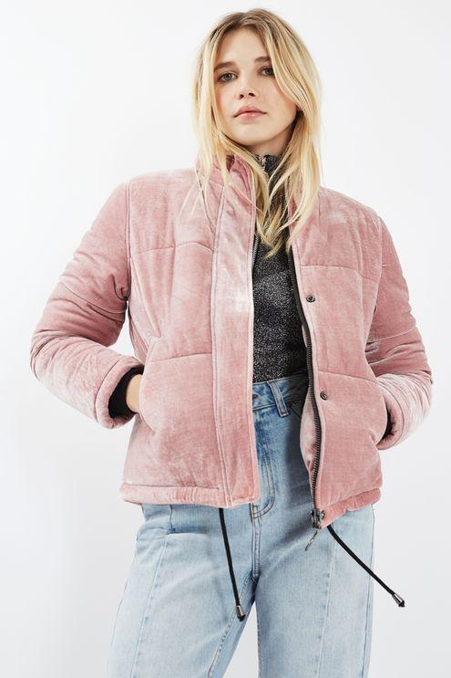 Velvet Puffer Jacket - Topshop